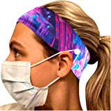Tuuu Women's Stretchy Headband Gift Packs with Buttons for Mask Holder, Yoga Sports Headband Sweat Band, Workout Running Turban Headwear