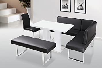 Liberty White High Gloss Rectangular Dining Table Pu Dining Chair