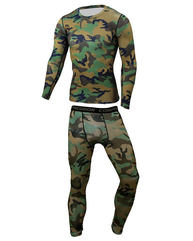 Uomo Sportivo Abbigliamento Manica Lunga Maglietta + Collant a Compressione Pantaloni#01 Gladiolus
