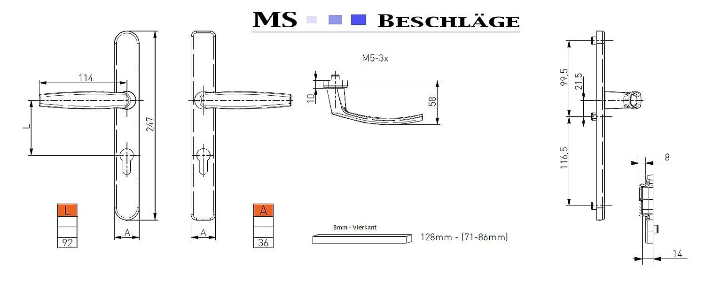 Schmalrahmengarnitur Schutzbeschlag Schildgarnitur Wechselgarnitur 8 Dr/ücker // Dr/ücker, Schwarz - RAL 9005 92mm