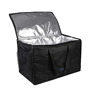 """cherrboll Insulated Commercial Food Delivery Bag with Side Pockets, Waterproof, Thick Insulation, Professional Thermal Carrier for Restaurant Catering or Any Food Transport - 23"""" x 14"""" x 15"""""""