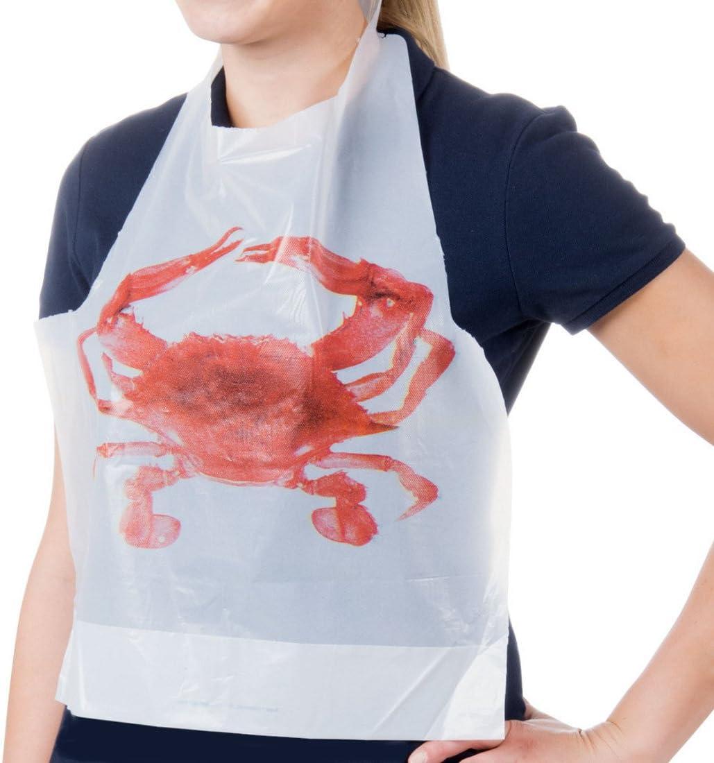 FeatherFine Crab Bibs Disposable Adult Crab Feast Bibs (12)