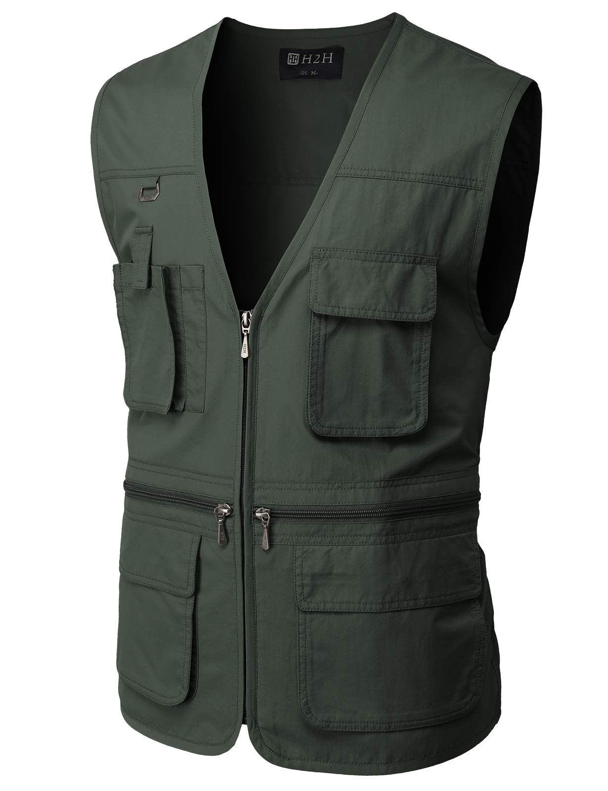 H2H Men's Fishing Vest Multi Pockets Plus Size Outdoor Climbing Causual Tactical Multi Use Vest Charcoal US XL/Asia 2XL (CMOV050) by H2H