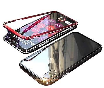 bacbf412c0 iPhoneXR ケース アイフォンXR カバー アルミ バンパー 背面透明強化ガラス バックプレートマグネット式 磁力