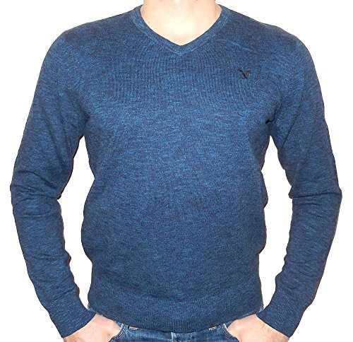 American Eagle Outfitters Men's Classic Fit Iconic Solid V-neck Sweater (X-Large, Dark Blue/Black)