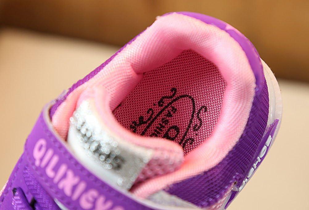 Mxssi Lacer Appartement Gar/çons Filles Sneaker LED Lumi/ère Up Lumineux Chaussures Enfant Sport Trainers Fonctionnement De Plein air Engrener Formateurs Doux Semelles