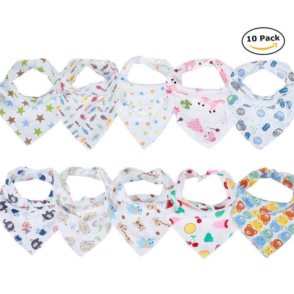 Labebe Hessie Series Baby Bandana Drool Bibs, Unisex 10-pack Absorbent Cotton, Cute Baby Gift for Boys & Girls (K-t)
