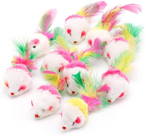 Poity Novelty Pet Kitten Cat Furry Mouse Shaped Toy Feather Tail Fetch Toy Gift Color Random 10 Pieces