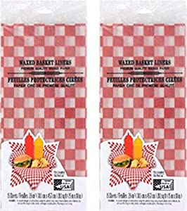 Waxed Basket Liners Red White Checkered Deli Paper Sheets - for Food BBQ Cookout Picnic - 15in.x 18in -