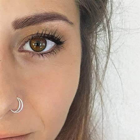 Eleusine Stainless Steel Nose Rings Moon Nose Ring Hoop Nose Nail