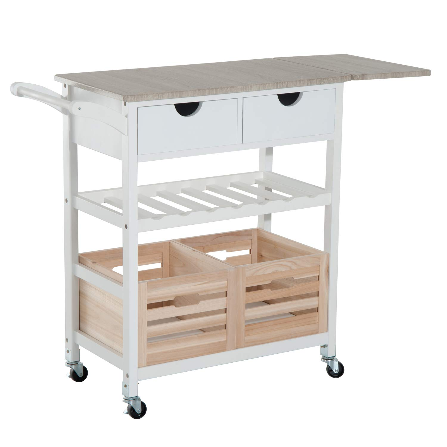 """Details about HomCom 34"""" Rolling Drop-Leaf Kitchen Trolley Serving Cart  with Wine Rack -"""