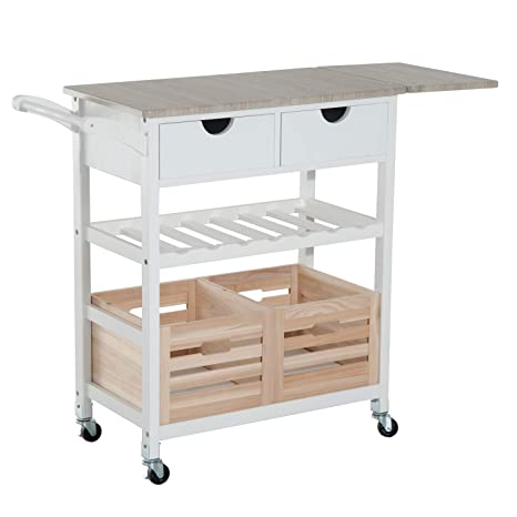 "HomCom 34"" Rolling Drop-Leaf Kitchen Trolley Serving Cart with Wine Rack -  White/Bamboo"