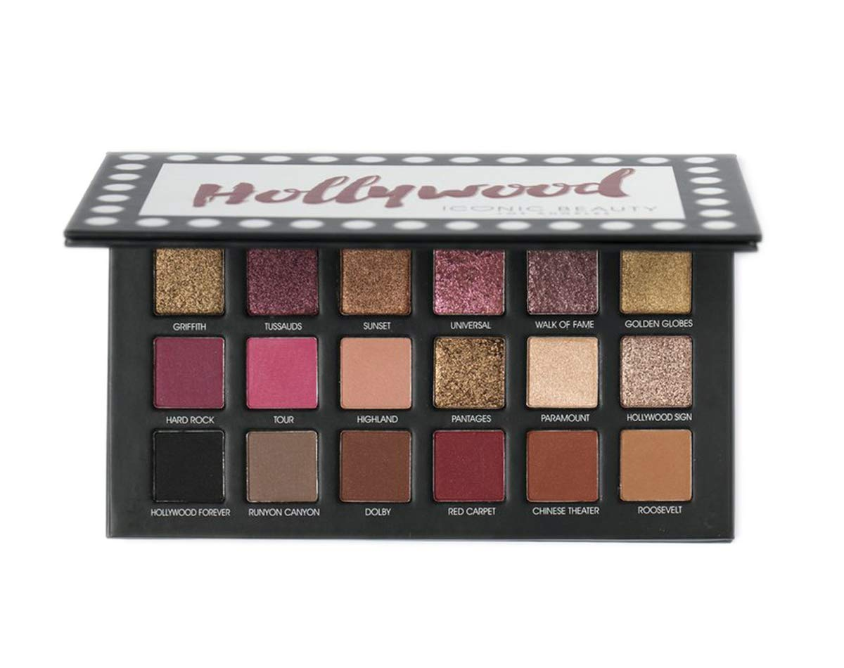 Iconic Beauty Los Angeles 18 Color Eyeshadow Palette, Hollywood, 7.16 Ounce