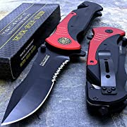 "Tac-force Extra Large Red 10.5"" Folding Blade Spring Assisted Open Pocket Knife"