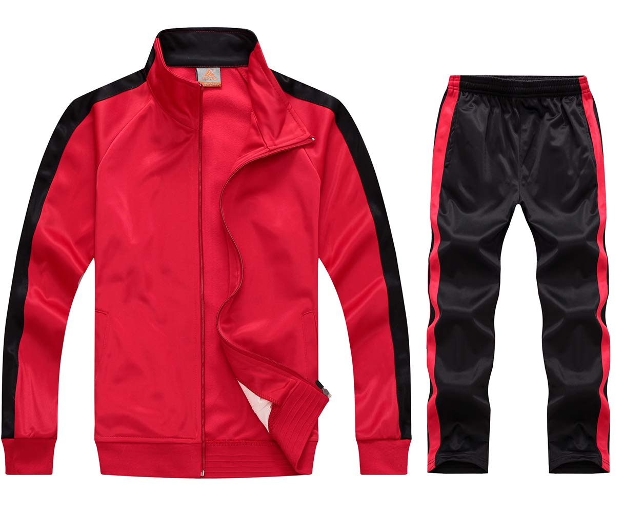 myglory77mall Running Jogging Tracksuit Jacket and Pants Warm Up Gym Wear 6801 Red L US(2XL Asian) by myglory77mall