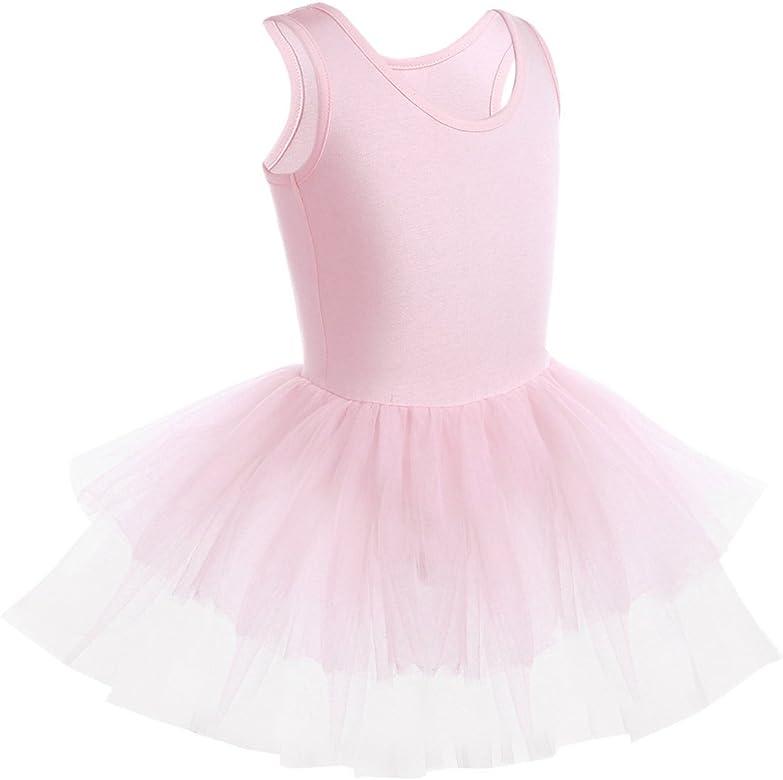 IEFIEL Maillot Ballet Niña Algodón Maillot con Falda Malla Vestido ...
