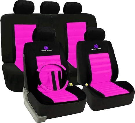 2 Luxus vordere Sitzbezüge Schonbezüge schwarz Stoff für Fiat Ford Honda Mazda