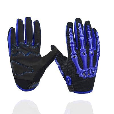 Chitone Full Finger Skeleton Motocross Riding Gloves for Motorcycle (Large, Blue): Automotive
