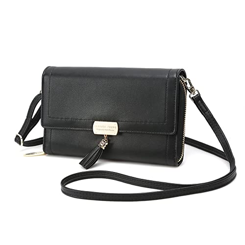 6458c9318663 Crossbody Wallet Women s Purse Clutch Handbag Shoulder Evening Bag with  Tassel and Removable Strap (Large