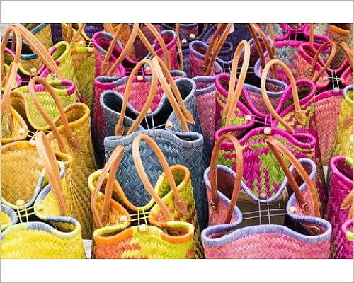 Photographic Print of France, Southern France, St. Remy. Baskets for sale at village street market