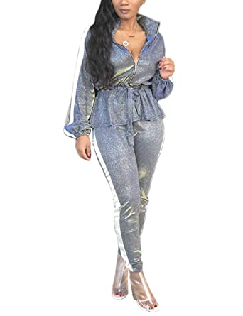7632b9acae2c Amazon.com: Augsuttc Women Shinny Silver 2 Piece Outfit Long Sleeve Ruffle  Jacket and Bodycon Pants Set: Clothing