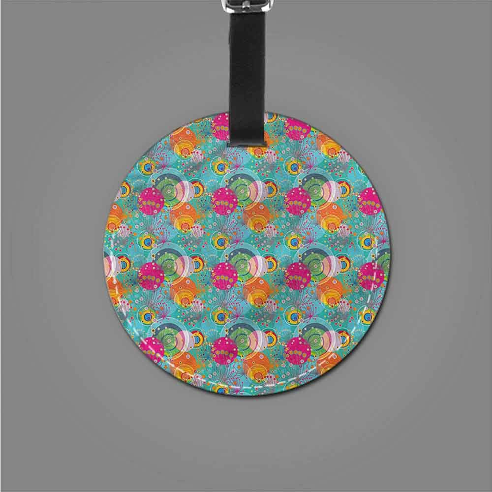 Round Luggage Tags Floral,Delicate Crocus Border Romantic