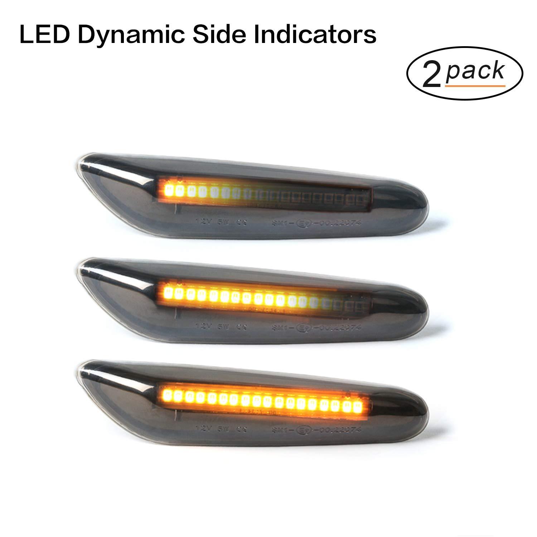 Dynamische Sequentielle LED Seitenblinker Blinker Gempro 2 X Bernstein 18 SMD mit Nicht-Polarit/ät CAN-Bus-Fehlerfrei OE-Buchse Rauch F/ür E46 E36 E90 E60 E81 E82 E87 E88 E92 E93 E83 E53