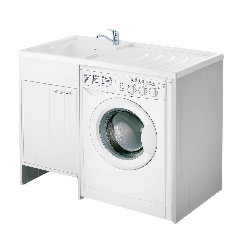 Lavatoio e Coprilavatrice in PVC 109x60x85cm Forlani Tidy Bianco Lato Sinistro