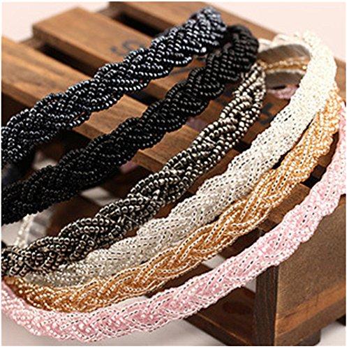 (Casualfashion 4Pcs Elegant Women's Beaded Hair Hoop Headband Hair Band Accessories)