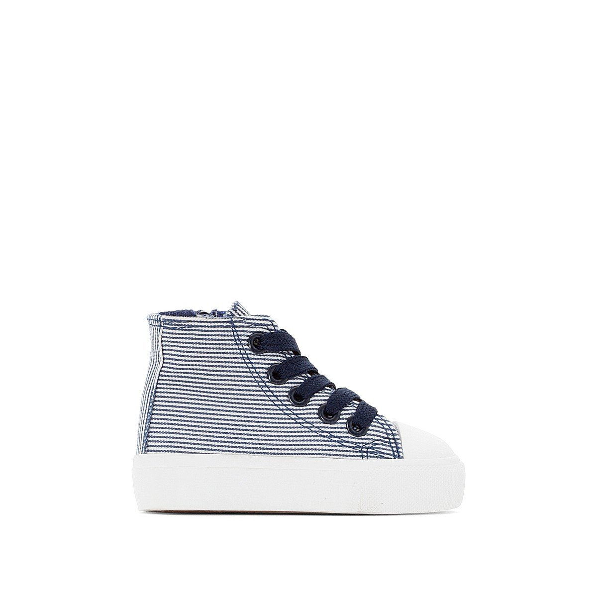 La Redoute Collections Big Girls Striped Canvas Trainers Blue Size 25 (7.5 to 8)