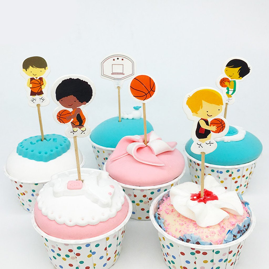 MagiDeal 24pcs Topper de Torta Forma de Chicos de Baloncesto/Fútbol Decoración de Pastel de Celebración de Victoria de Equipo Accesorio de Panadería - ...
