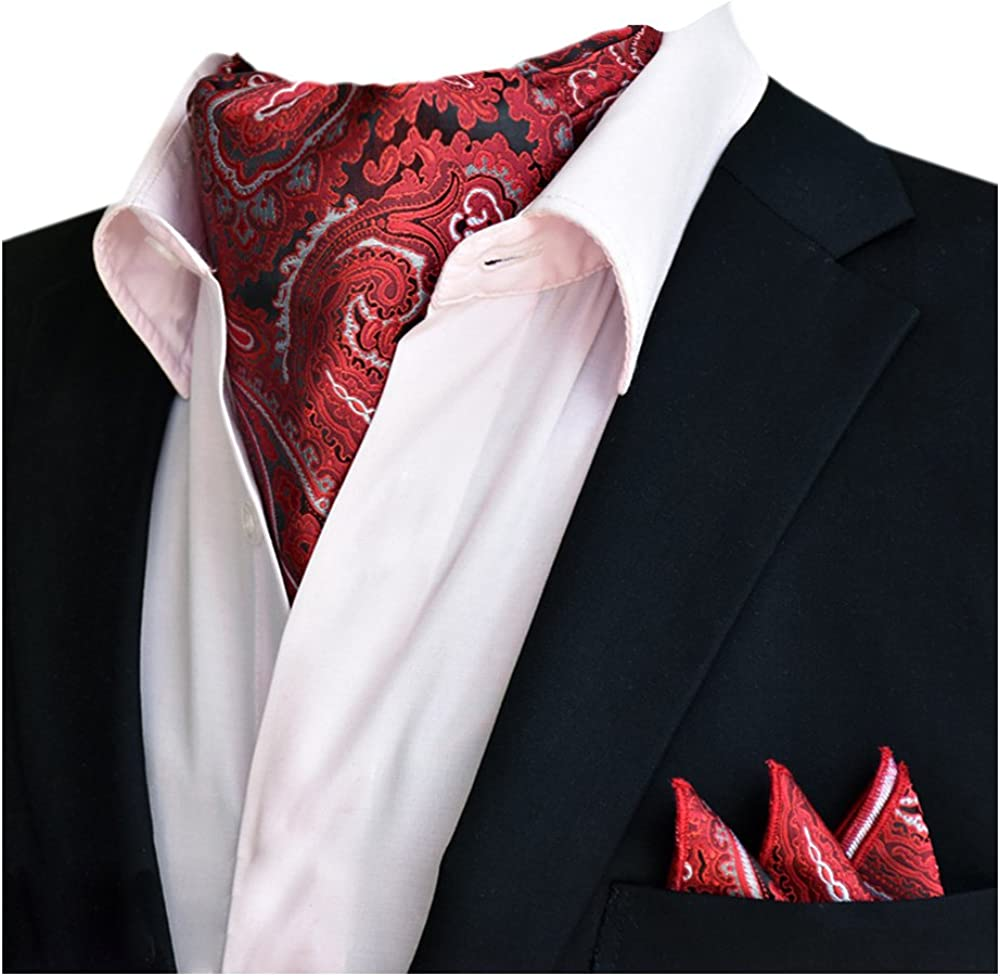YCHENG Hommes Coton Ascot Poche Carr/ée Set Foulard Cravate