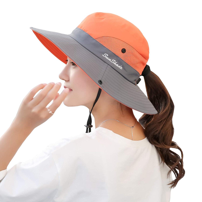 d4fb3c0c26b5f Muryobao Women Ponytail Summer Sun Hat Wide Brim UV Hats Floppy Bucket Cap  for Safari Beach Fishing Gardening Orange at Amazon Women s Clothing store