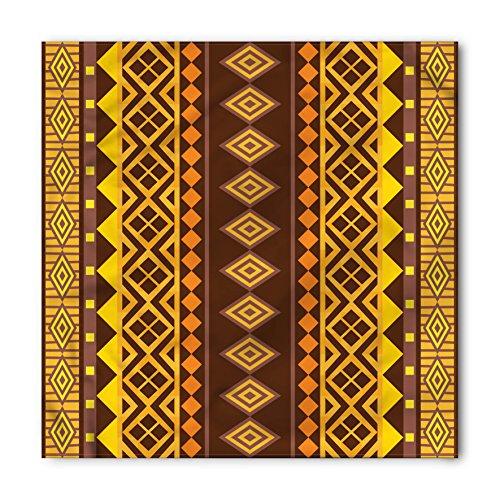 Lunarable Unisex Bandana, Tribal African Ornamental Shapes, Yellow Brown
