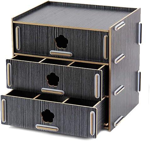 LQwjj Archivadores con Espiral Maquillaje de Caja de cajón Ambiental de Madera, Caja de Almacenamiento de 3 mm de Espesor Opcional, Caja de Almacenamiento de joyería de 1.3 kg Archivadores con es: