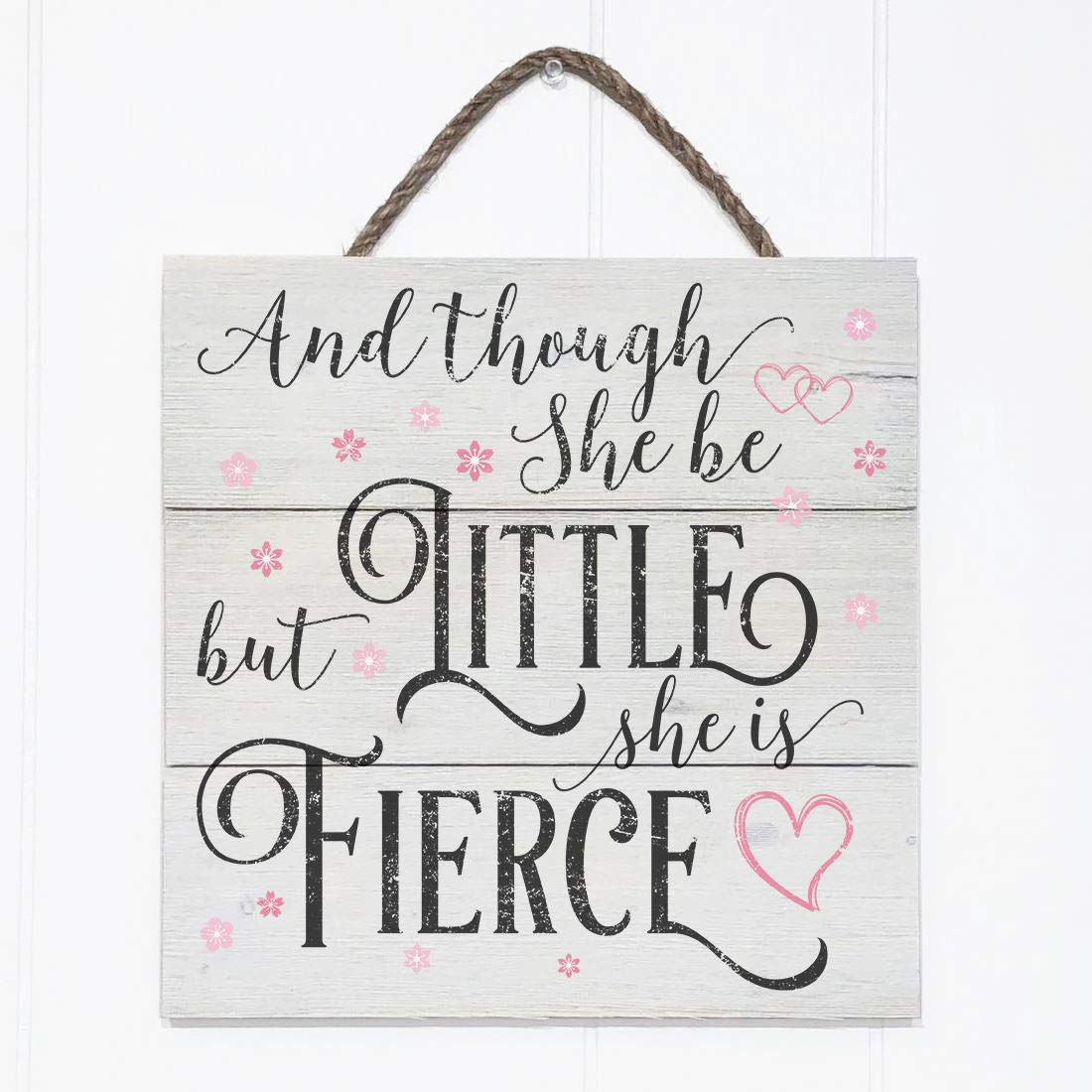 Artblox Rustic Nursery Room Sign And Though She Be but Little She is Fierce Quotes, Hearts & Flowers Ornaments Artwork, Barn Wood Pallet Farmhouse Wooden Plaque Art Print, 10.5x10.5 - White by Artblox