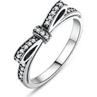 Presentski 925 Steriling Silver Bowknot Ring with Austria Cubic Zirconia for Lover