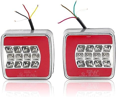 Imagen deHawkeye par LED Remolque de Luces Traseras Halo Lámpara Impermeable de iluminación para remolque Camión Caravana (Rojo, Rectángulo)