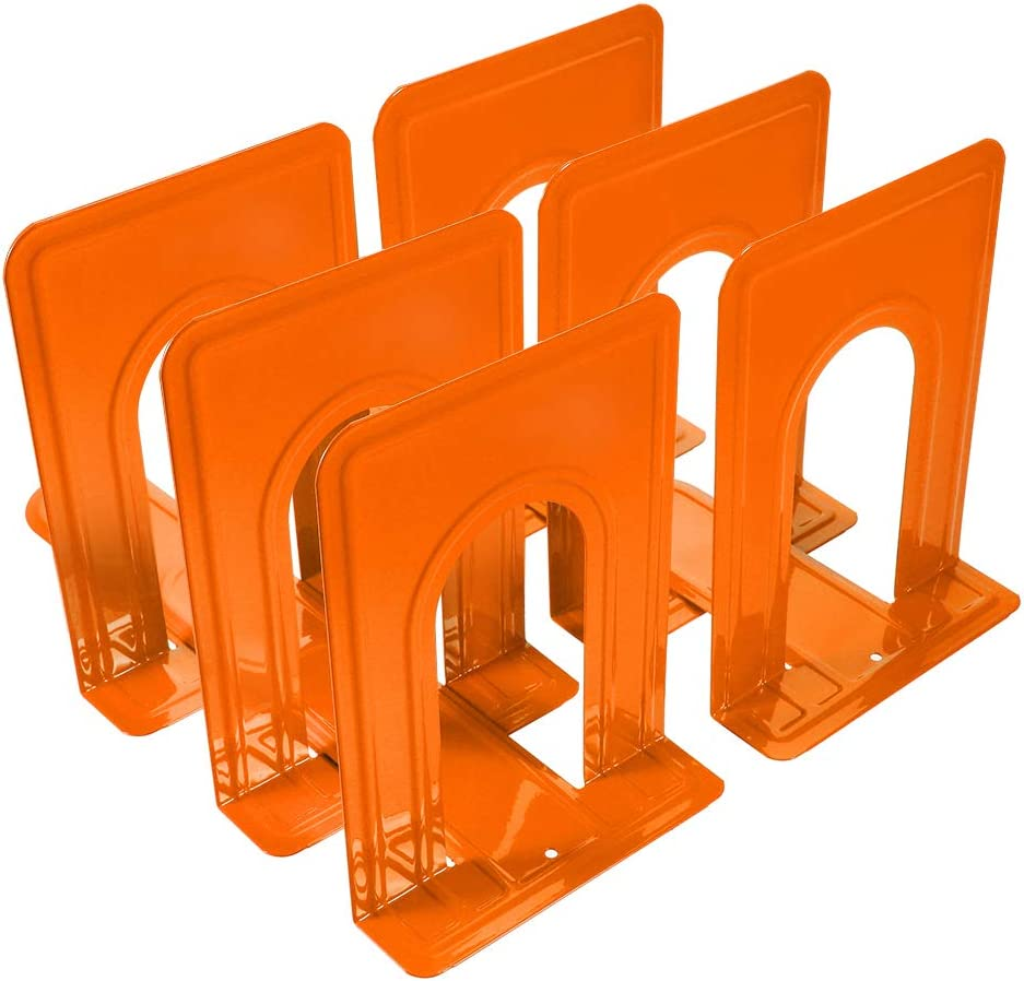 Metal Bookends, Book Ends Economy Universal Nonskid Heavy Duty Bookends Shelves Office Orange 6.69 x 4.9 x 4.3in,3 Pair/6 Piece