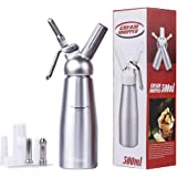Professional Whipped Cream Dispenser, Aluminum Cream Whipper, 3 Sainless Steel Nozzles and 3 Plastic Pastry Tube, for Baking and Beverages (500ml)