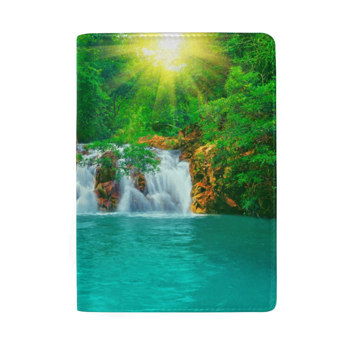 Waterfall And Quiet World Leather Passport Holder Cover Case Protector for Men Women Travel with Slots