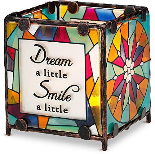 Shine on Me by Pavilion Glass Candle Holder, Dream Smile Hope Laugh Sentiment, 3 by (Stained Glass Christmas Candles)