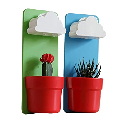 Singeek(TM) Cloud-Shaped Indoor Wall Mount Rainy Pot Hanging flower Pot With One Pair Singeek Lover Keychain Gift(2, Blue+Green) : Garden & Outdoor