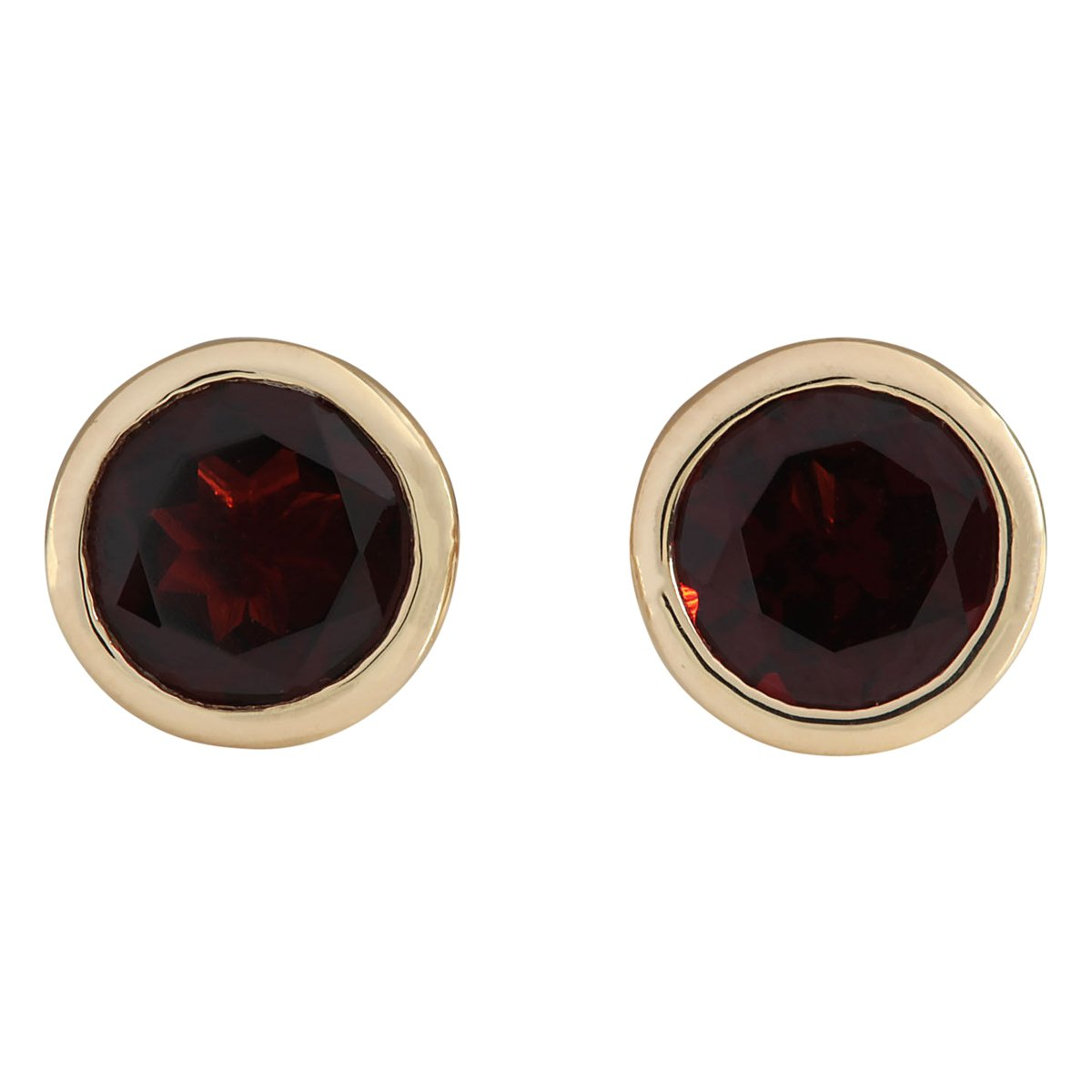 3 Carat Natural Red Garnet 14K Yellow Gold Solitaire Stud Earrings for Women Exclusively Handcrafted in USA by Unknown