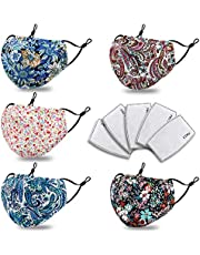 Floral Reusable Face Mask with Filter Pocket Adjustable Nose Wire Washable and Breathabl for Women