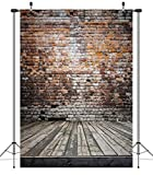 Duluda 5X7FT Brick Wall Wooden Floor Photograghy Backdrop Computer Printed Scenic Photo Background CP Sturio Prop GM02A