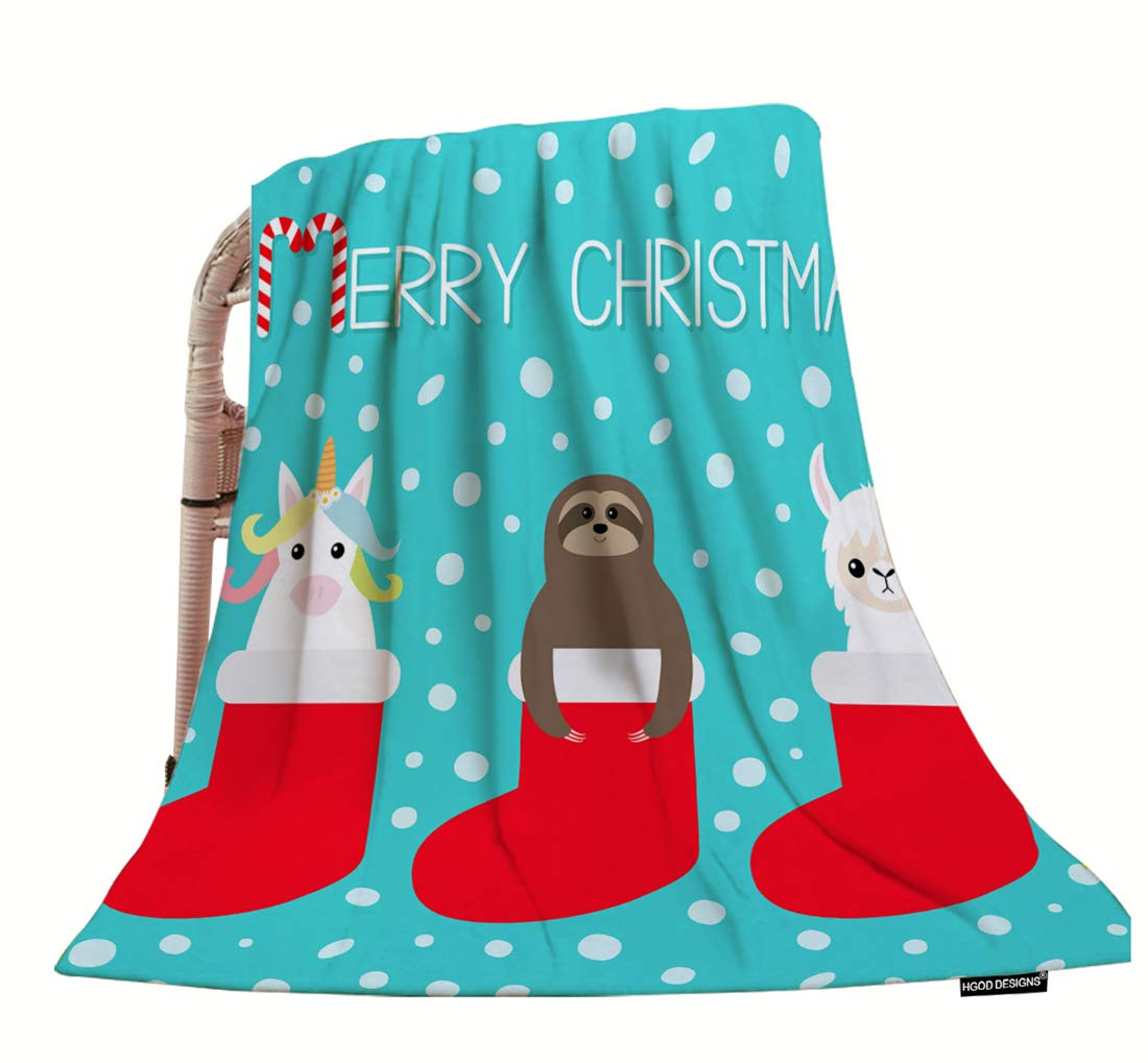 Hgod Designs Christmas Throw Blanket,Cute Cartoon Funny Kawaii Llama Alpaca Sloth Unicorn In Red Sock Soft Warm Decorative Throw Blanket For Baby Toddler Or Pets Cat Dog 30&Quot;X40&Quot; - Hgod Designs