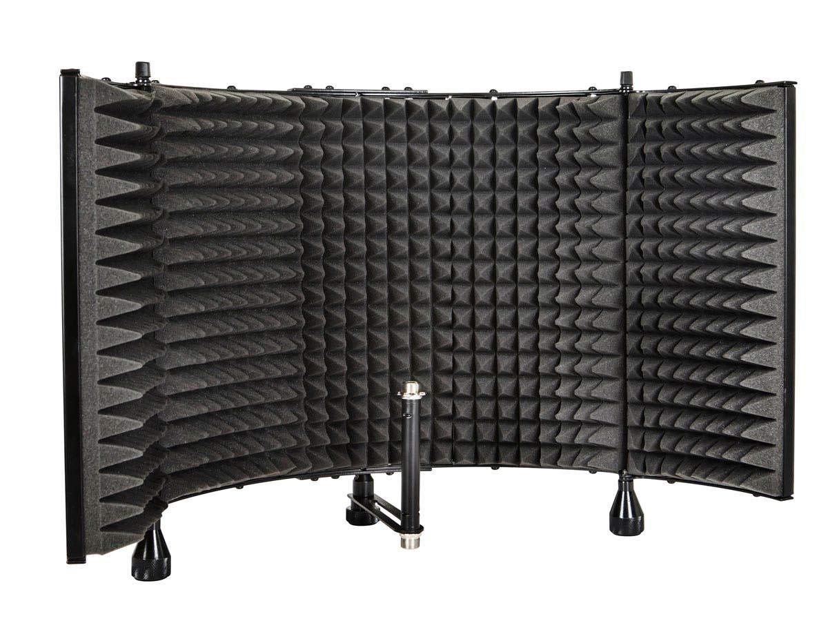 "Monoprice Microphone Isolation Shield - Black - Foldable With 3/8"" Mic Threaded Mount, High Density Absorbing Foam Front & Vented Metal Back Plate - Stage Right"