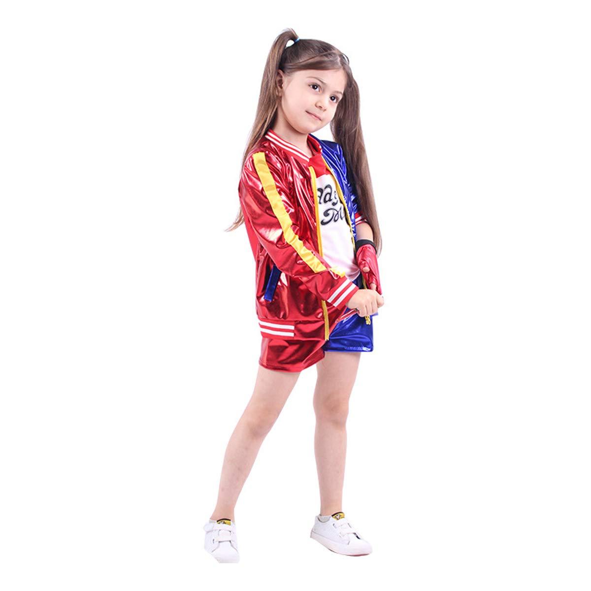 unbrand Adulto Niños Chica Harley Quinn Disfraz de Cosplay Disfraz de Dama Completo Conjunto de Navidad Suicide Squad Jumpsuit