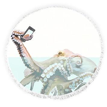 Yun Nist Toallas de playa redondas con borlas divertidas selfie octopus océano flecos círculo grueso gitano alfombra de picnic yoga alfombra: Amazon.es: ...